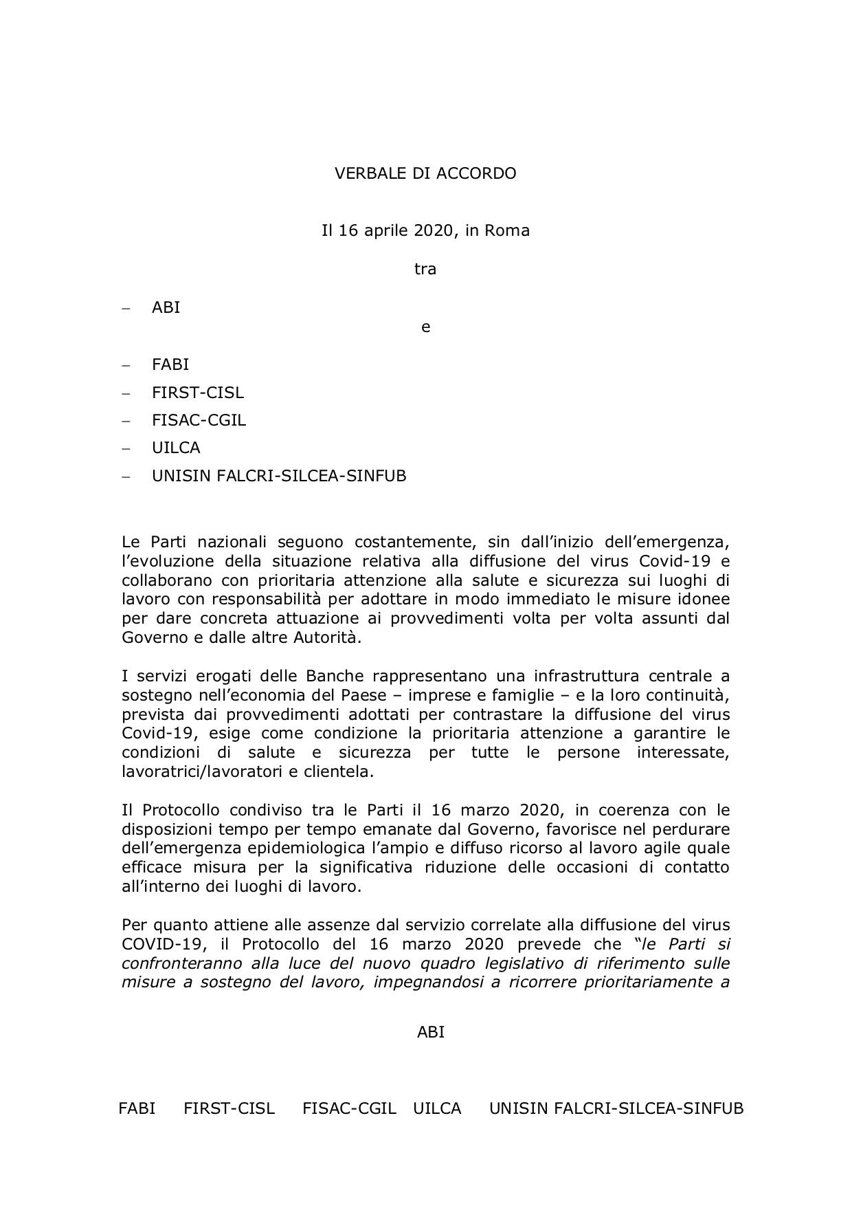 coronavirus: il testo dell'accordo firmato oggi