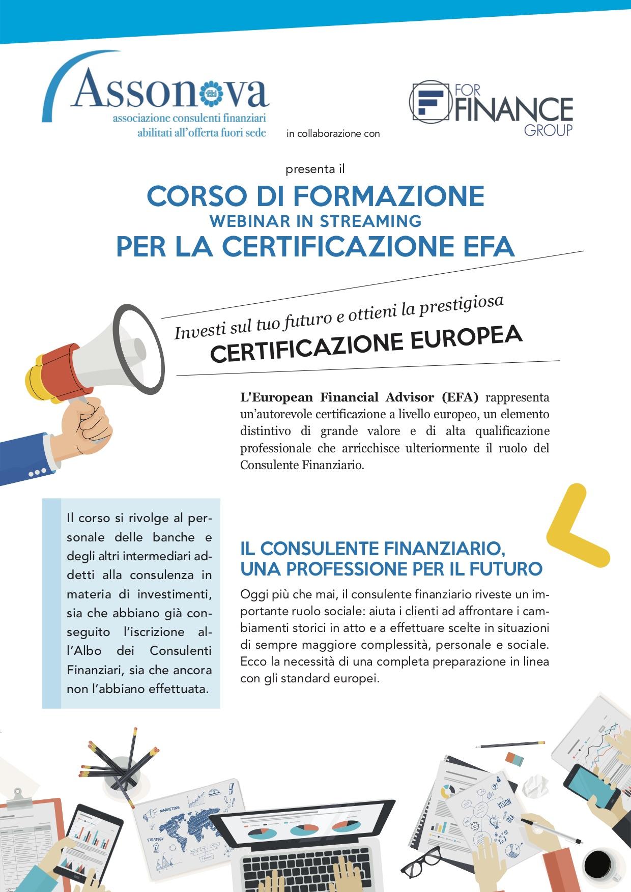 ASSONOVA, AL VIA IL CORSO PER LA CERTIFICAZIONE EUROPEA DEL CONSULENTE FINANZIARIO