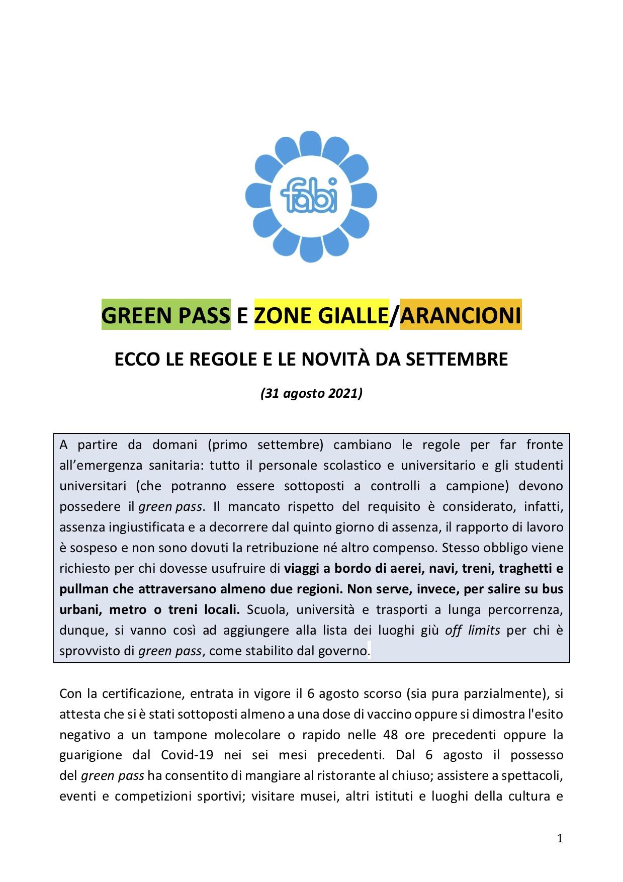 GREEN PASS E ZONE GIALLE/ARANCIONI ECCO LE REGOLE E LE NOVITÀ DA SETTEMBRE