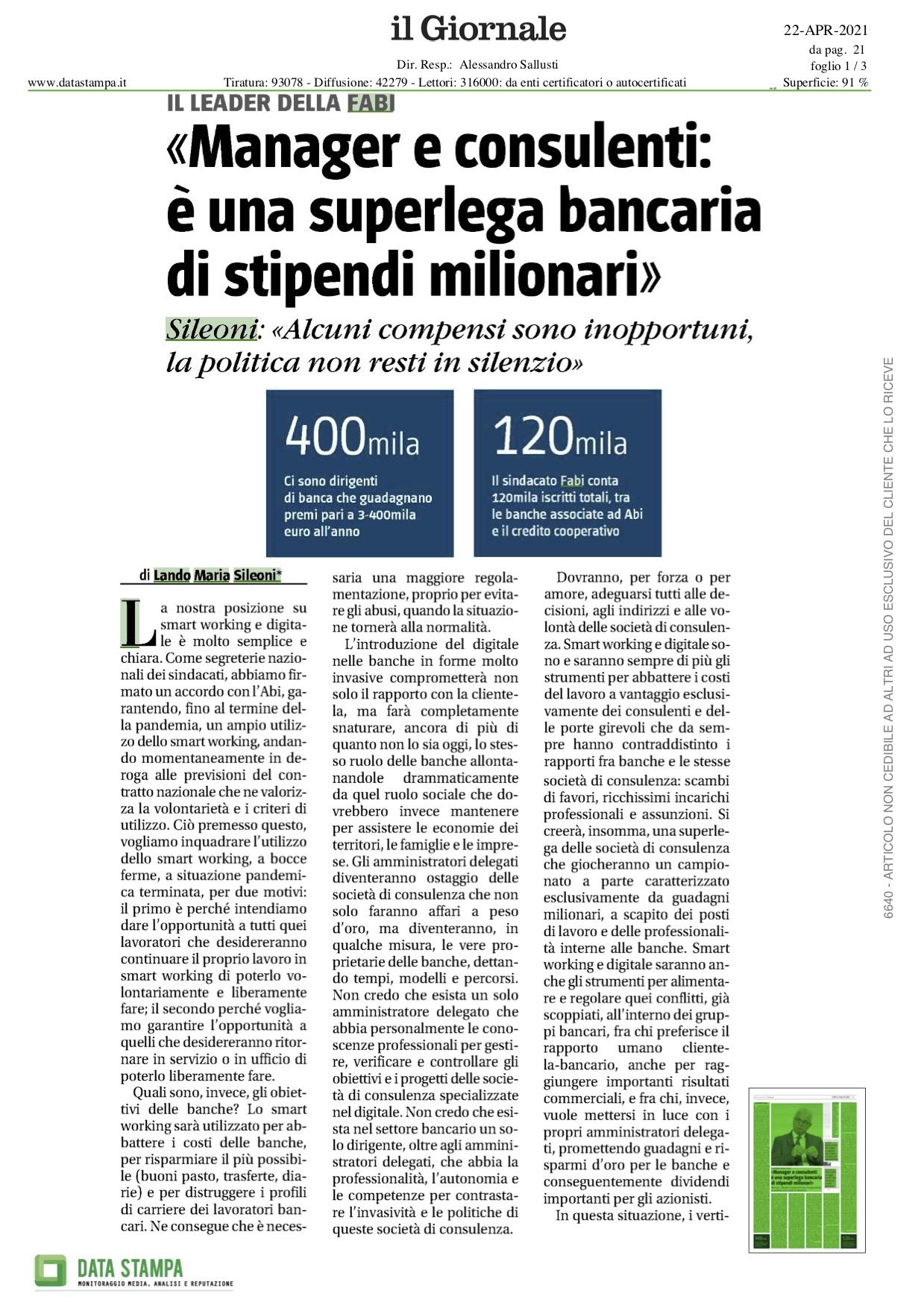 """""""MANAGER E CONSULENTI: È UNA SUPERLEGA DI STIPENDI MILIONARI"""""""