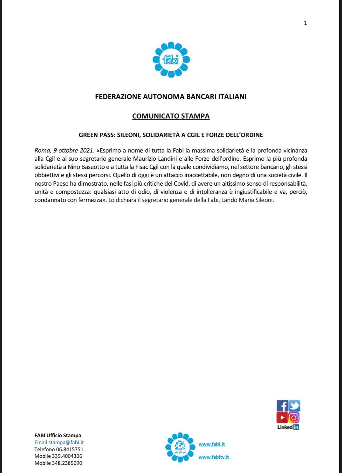 Sileoni: solidarietà a Cgil e forze dell'ordine dopo vile attacco