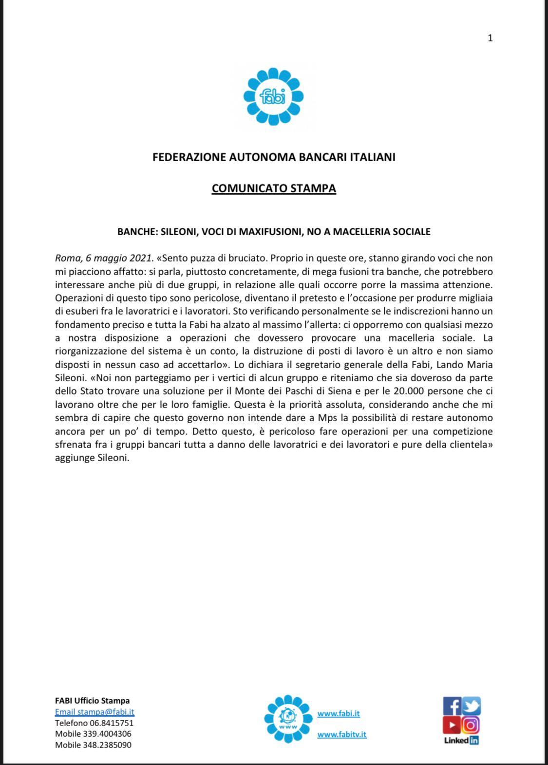 «VOCI DI MAXIFUSIONI TRA BANCHE, NO A MACELLERIA SOCIALE»