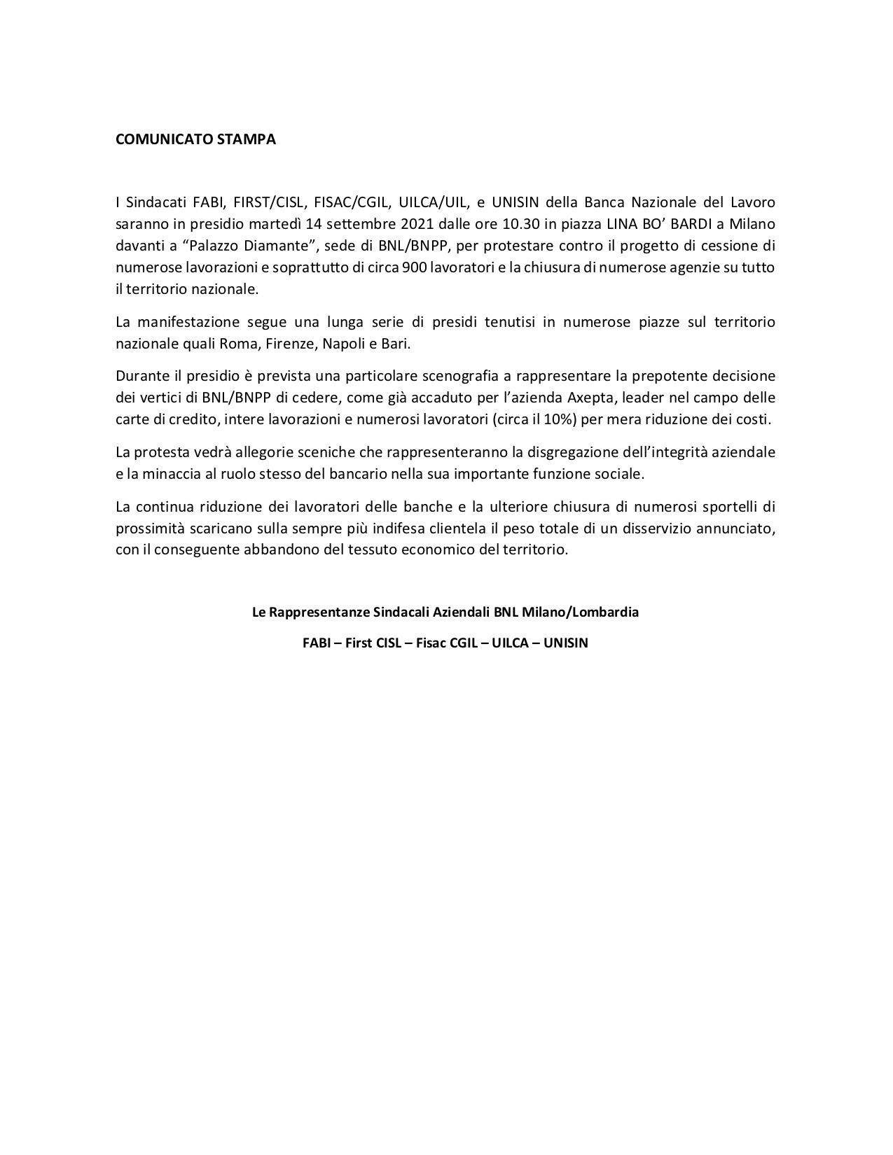 BNL, IL 14 PRESIDIO DEI SINDACATI DAVANTI ALLA SEDE DI MILANO
