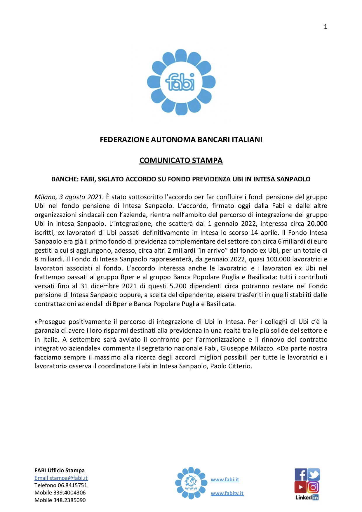 SIGLATO L'ACCORDO SUL FONDO PENSIONE UBI IN INTESA SANPAOLO